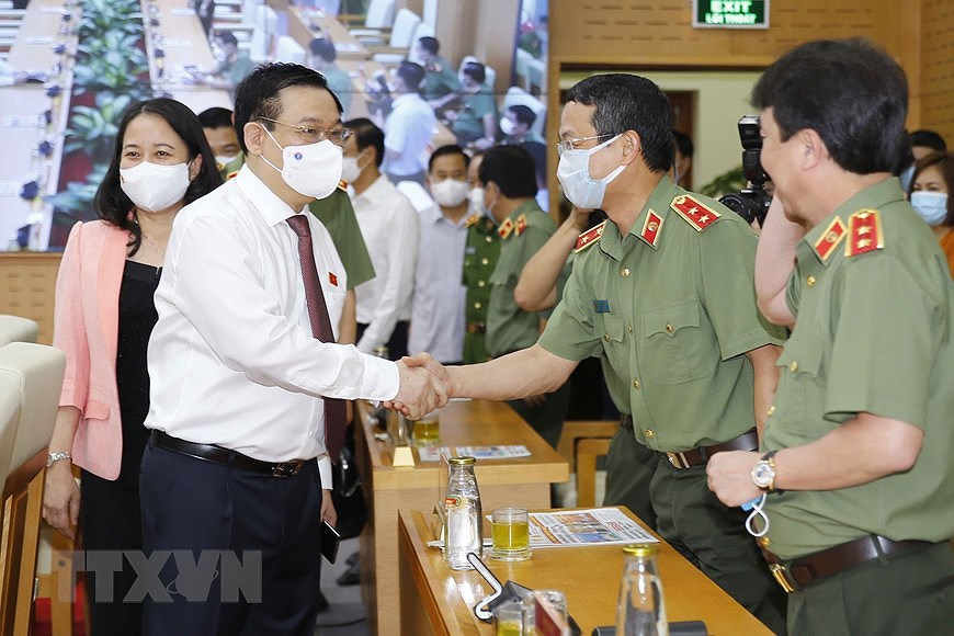 NA Chairman attends ceremony on protecting security and safety for elections hinh anh 1