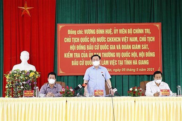 Elections legislatives : le president de l'Assemblee nationale examine les preparatifs a Ha Giang hinh anh 2