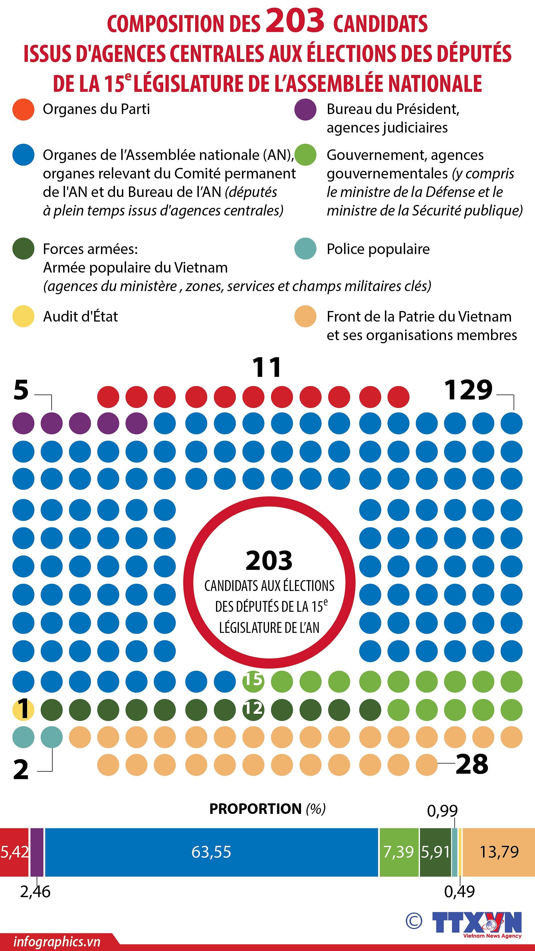 Composition des 203 candidats issus d'agences centrales aux elections des deputes de la 15e AN hinh anh 1