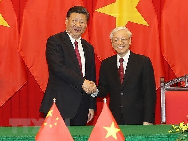 Le leader vietnamien recoit les felicitations de son homologue chinois hinh anh 1