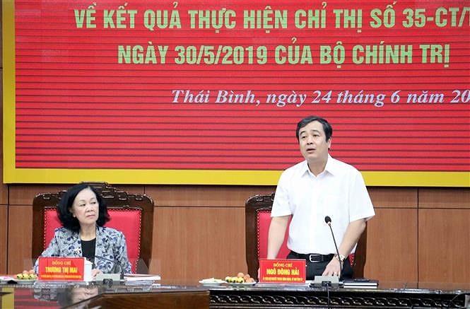 Doan cong tac cua Ban Bi thu Trung uong Dang lam viec tai Thai Binh hinh anh 2