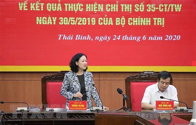 Doan cong tac cua Ban Bi thu Trung uong Dang lam viec tai Thai Binh hinh anh 1