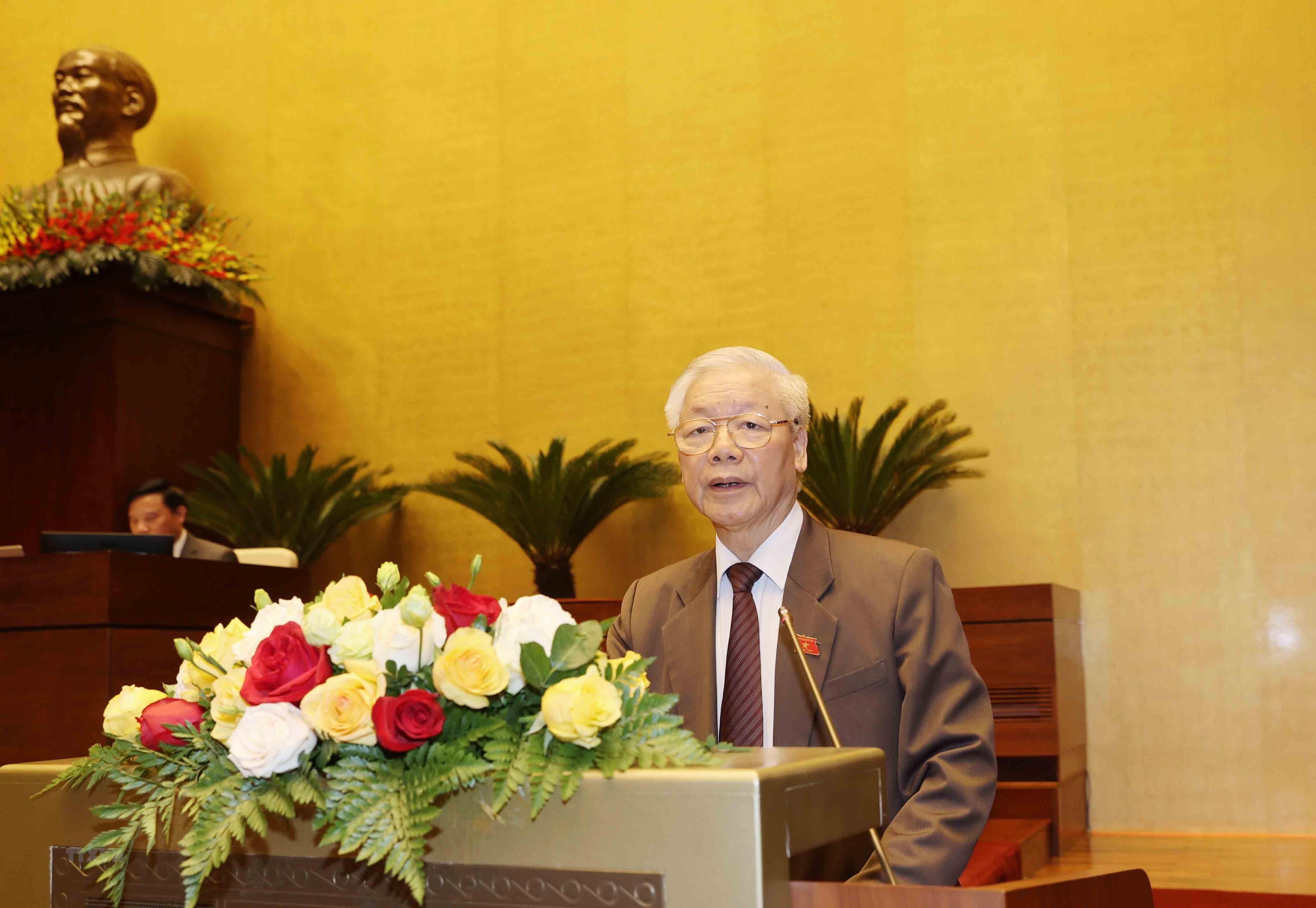 Chu tich nuoc Nguyen Phu Trong trinh Quoc hoi mien nhiem Thu tuong hinh anh 3