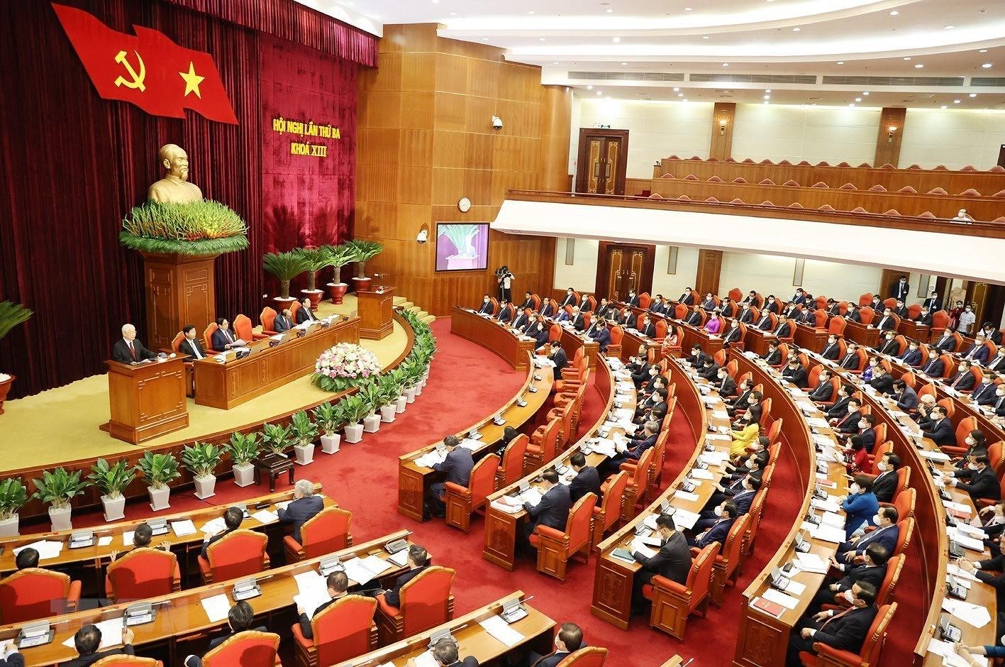 Hinh anh khai mac Hoi nghi lan thu ba Ban Chap hanh TW Dang khoa XIII hinh anh 7