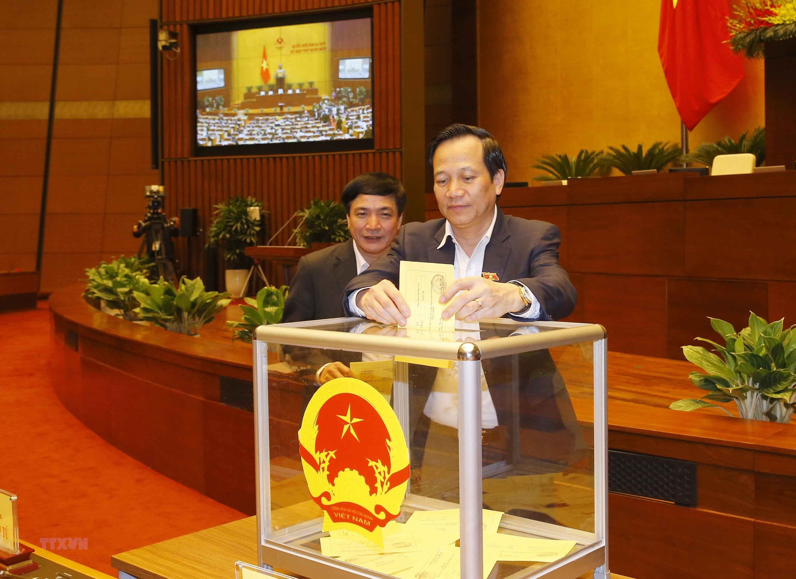 [Photo] Quoc hoi tien hanh quy trinh bo phieu bau Chu tich nuoc hinh anh 16
