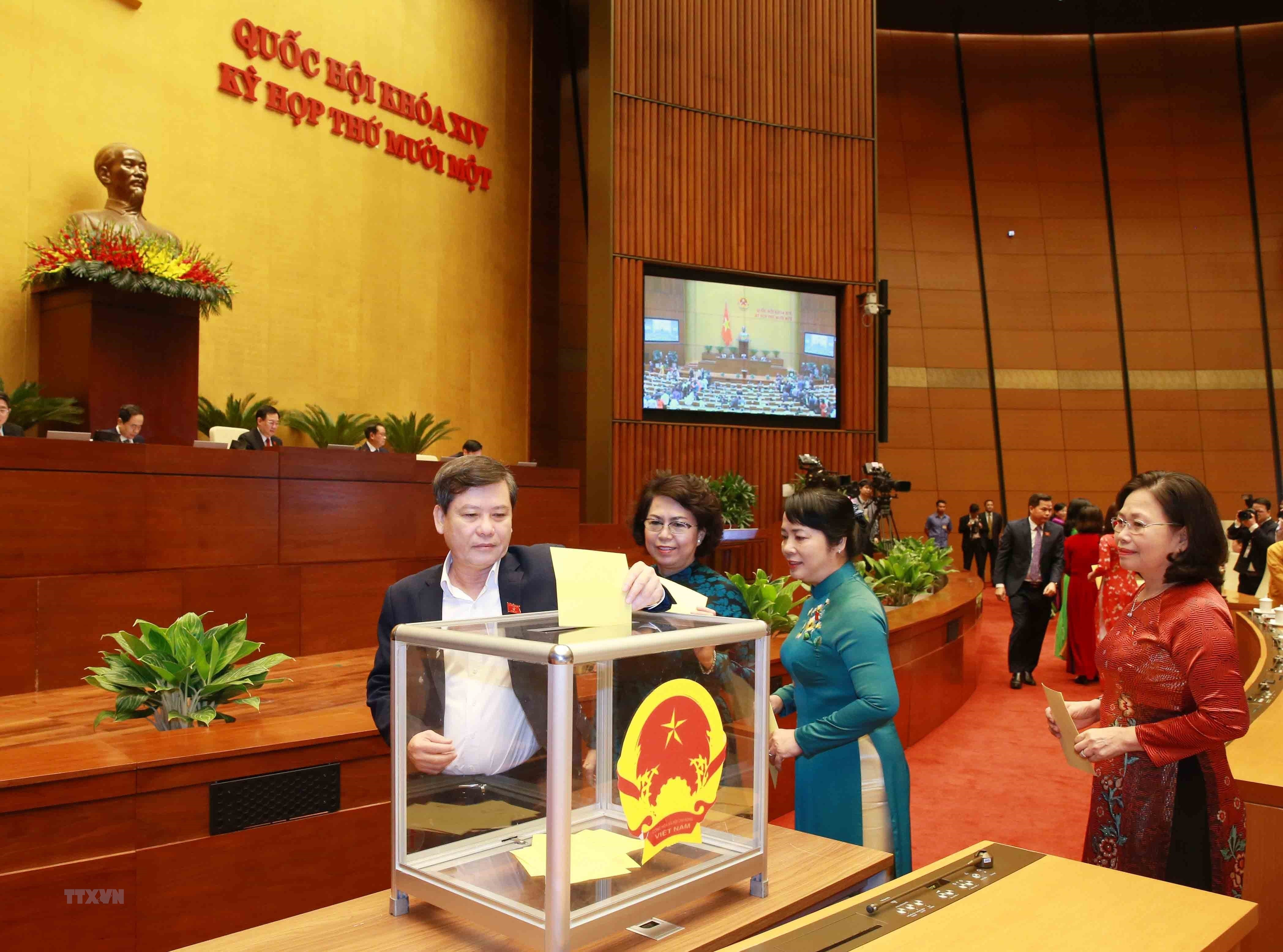 [Photo] Quoc hoi tien hanh quy trinh bo phieu bau Chu tich nuoc hinh anh 9