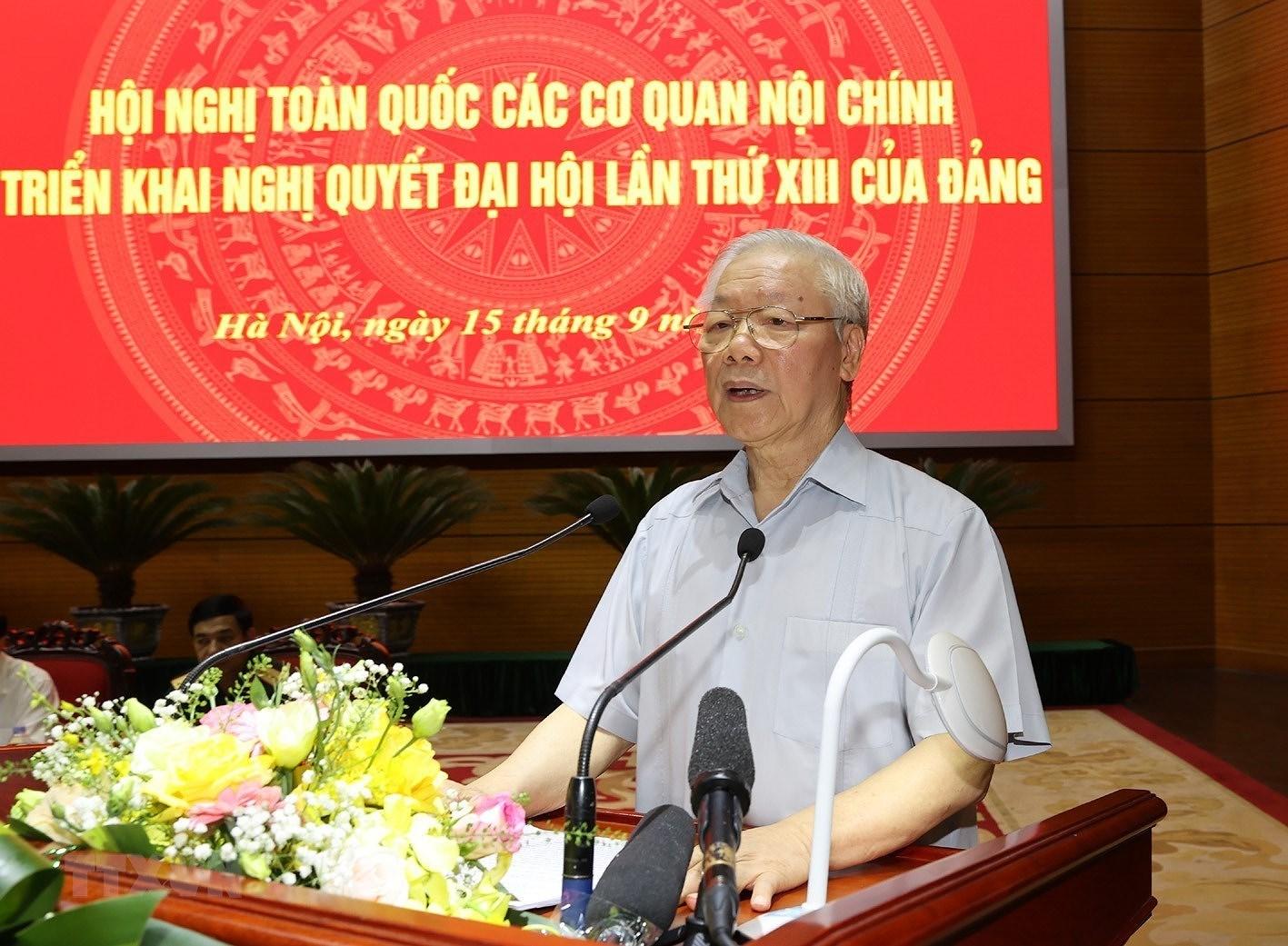 [Photo] Tong Bi thu chu tri Hoi nghi toan quoc cac co quan noi chinh hinh anh 5