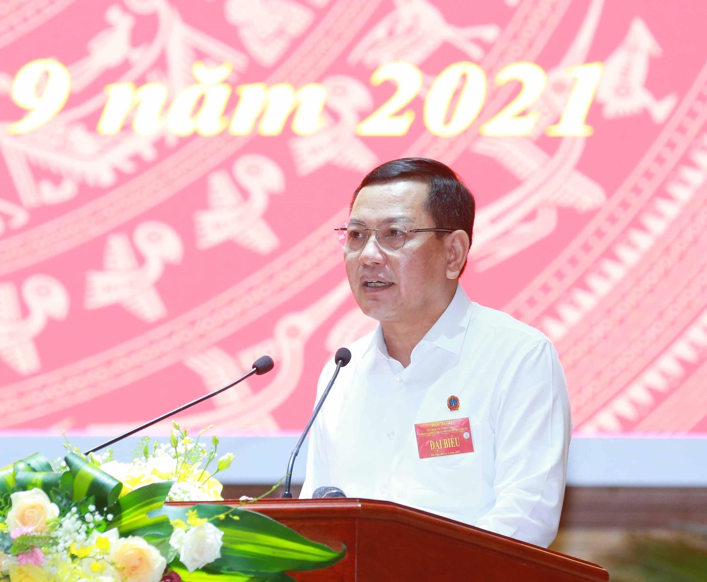 [Photo] Tong Bi thu chu tri Hoi nghi toan quoc cac co quan noi chinh hinh anh 9
