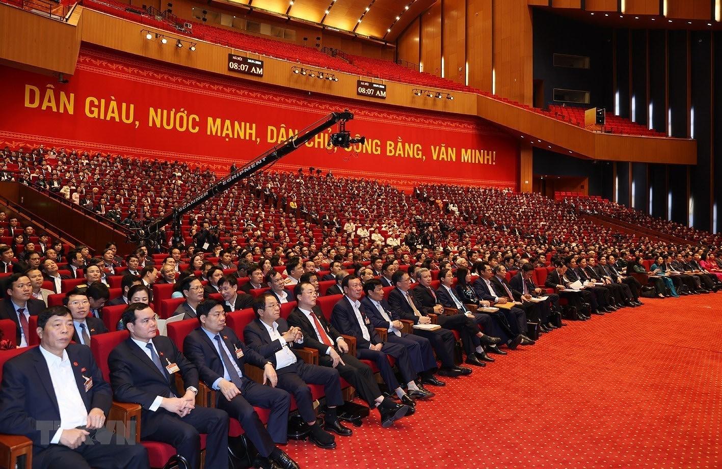 [Photo] Quang canh phien thao luan cac van kien Dai hoi XIII cua Dang hinh anh 11
