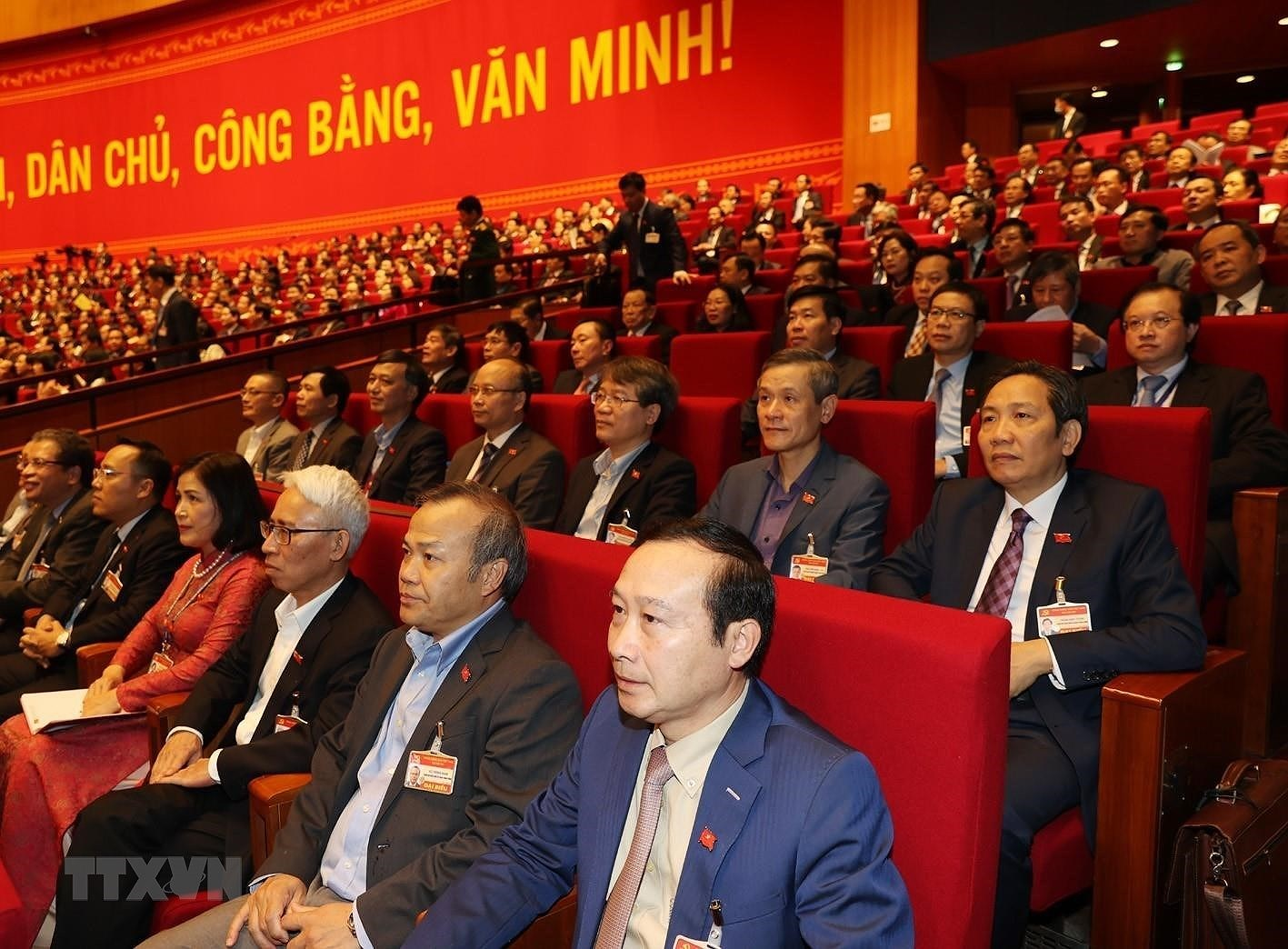 [Photo] Quang canh phien thao luan cac van kien Dai hoi XIII cua Dang hinh anh 12