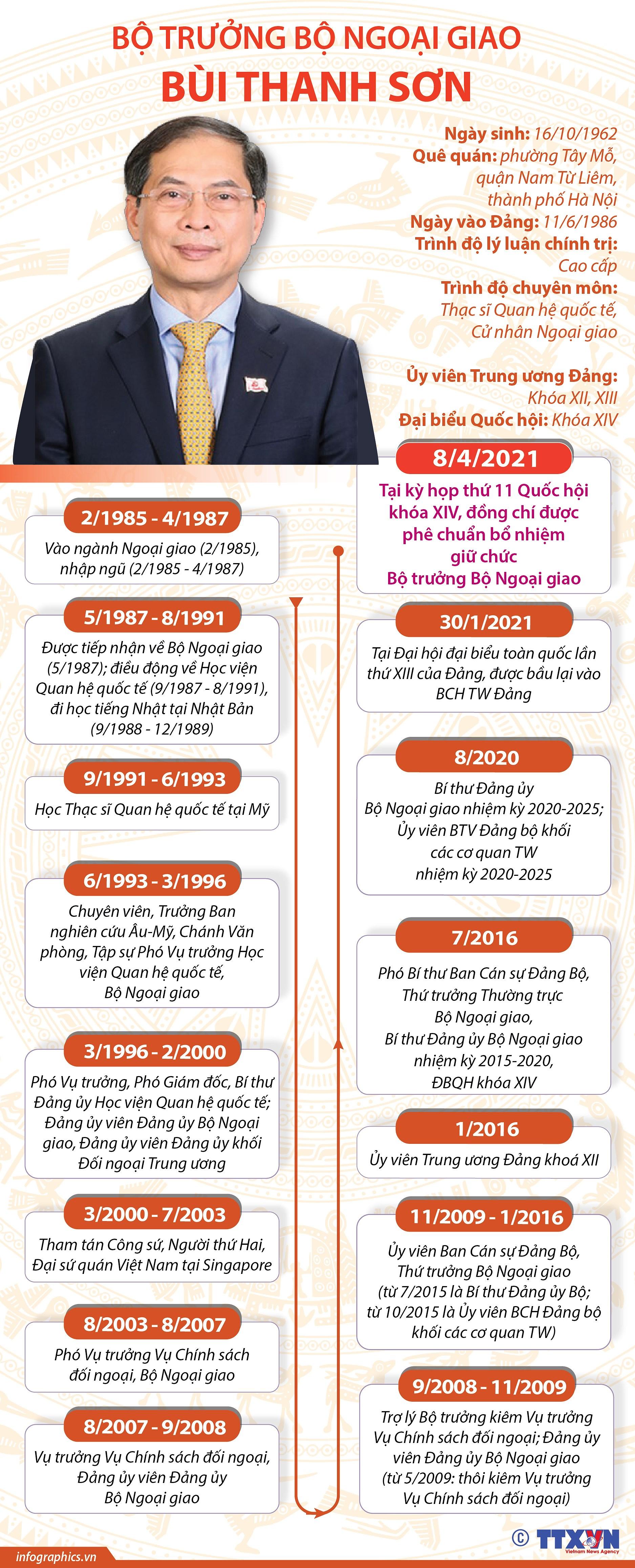 [Infographics] Tieu su Bo truong Bo Ngoai giao Bui Thanh Son hinh anh 1