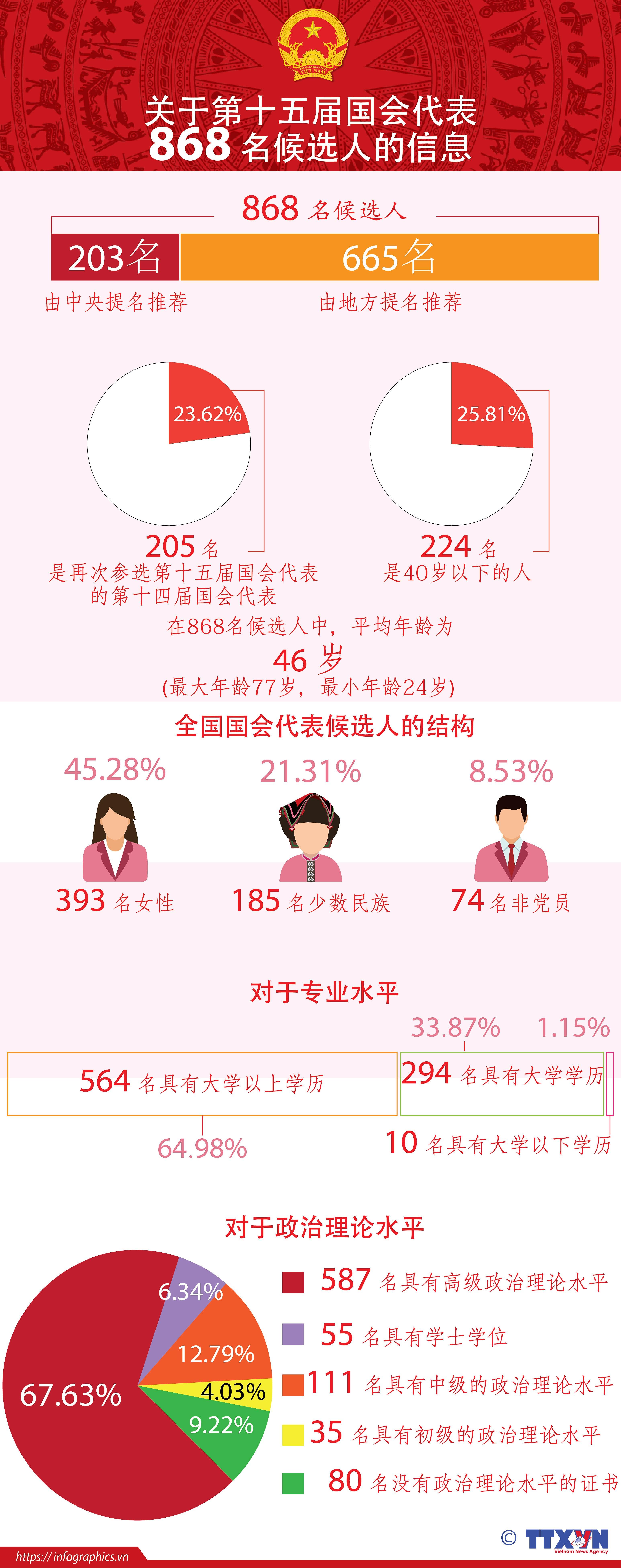 图表新闻:关于第十五届国会代表868名候选人的信息 hinh anh 1