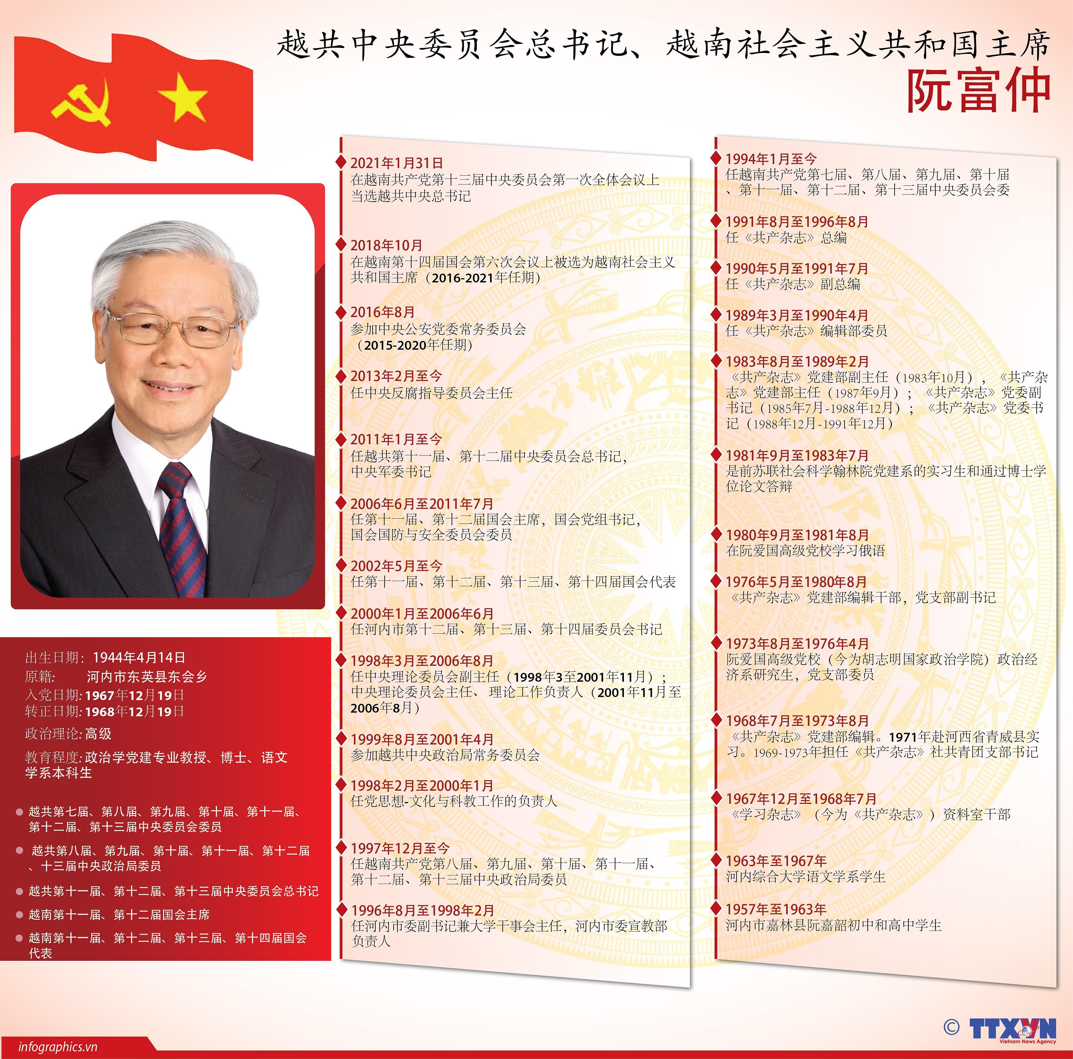 图表新闻:越共中央总书记、国家主席阮富仲简历 hinh anh 1
