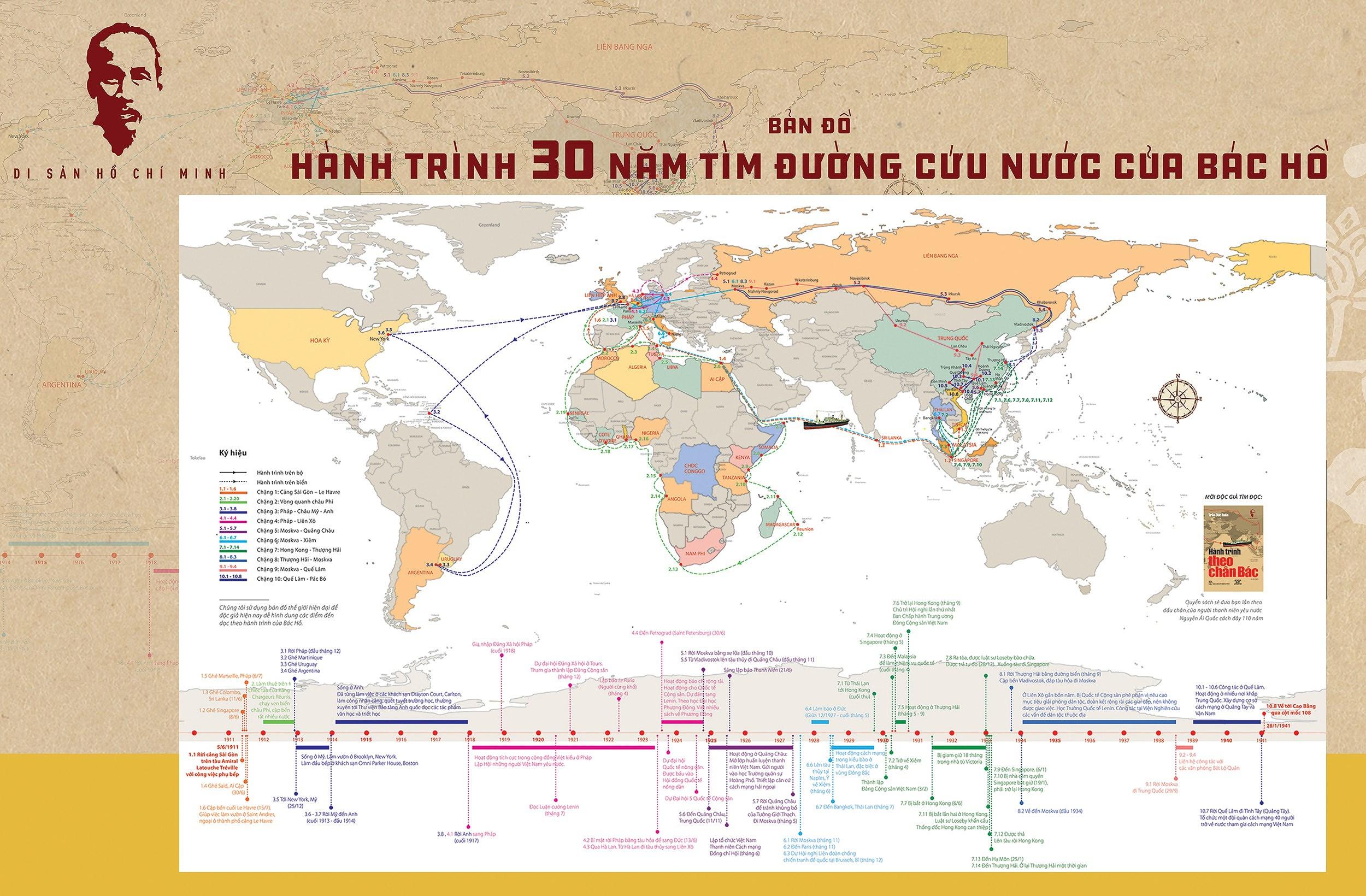 """Publication d'une """"Carte du voyage de 30 ans de l'Oncle Ho pour trouver la voie du salut national"""" hinh anh 1"""